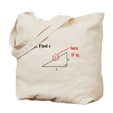 Right Triangle Find C or Find Tote Bag