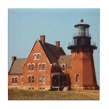 Block Island Lighthouse Tile Coaster