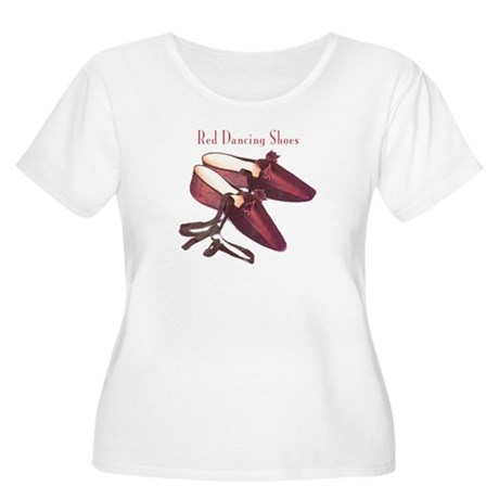 Red Dancing Shoes Women's Plus Size Scoop Neck T-S