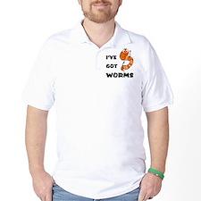 I've Got Worms Fishing Cartoon T-Shirt