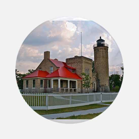 Mackinaw City Light house Ornament (Round)