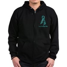 Ovarian Cancer Courage Zip Hoodie