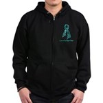 Ovarian Cancer Courage Zip Hoodie (dark)