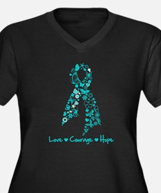 Ovarian Cancer Courage Women's Plus Size V-Neck Da