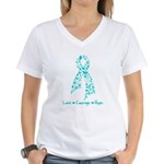 Ovarian Cancer Courage Women's V-Neck T-Shirt
