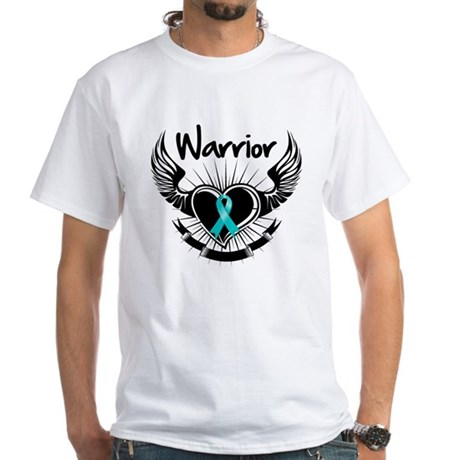Warrior Ovarian Cancer White T-Shirt