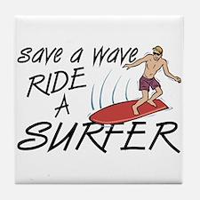 Ride A Surfer Tile Coaster