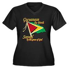 Guyanese by birth Women's Plus Size V-Neck Dark T-