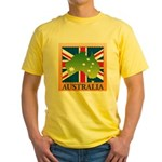 Australia Map and Flag Yellow T-Shirt