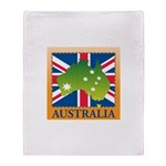 Australia Map and Flag Throw Blanket