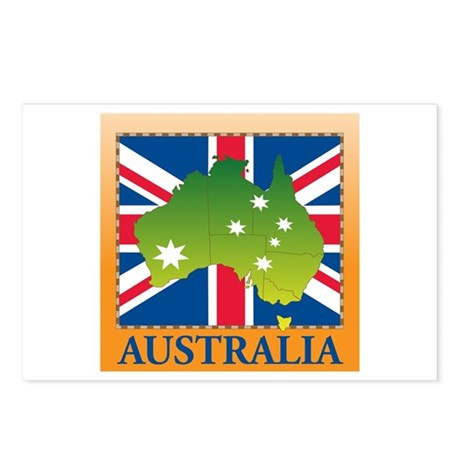 Australia Map and Flag Postcards (Package of 8)