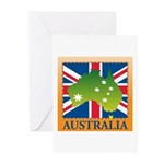 Australia Map and Flag Greeting Cards (Pk of 10)