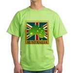 Australia Map and Flag Green T-Shirt