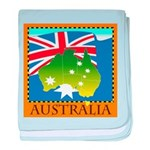 Australia Map with Waving Fla baby blanket