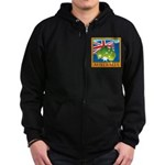 Australia Map with Waving Fla Zip Hoodie (dark)
