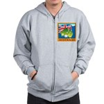 Australia Map with Waving Fla Zip Hoodie
