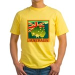 Australia Map with Waving Fla Yellow T-Shirt
