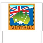 Australia Map with Waving Fla Yard Sign