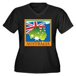 Australia Map with Waving Fla Women's Plus Size V-