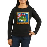 Australia Map with Waving Fla Women's Long Sleeve