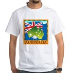 Australia Map with Waving Fla White T-Shirt
