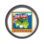 Australia Map with Waving Fla Wall Clock
