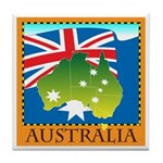 Australia Map with Waving Fla Tile Coaster
