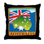 Australia Map with Waving Fla Throw Pillow