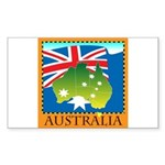 Australia Map with Waving Fla Sticker (Rectangle)