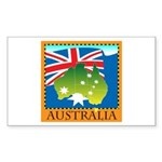 Australia Map with Waving Fla Sticker (Rectangle 5