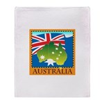 Australia Map with Waving Fla Throw Blanket