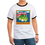 Australia Map with Waving Fla Ringer T