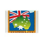 Australia Map with Waving Fla Rectangle Magnet (10