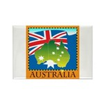 Australia Map with Waving Fla Rectangle Magnet