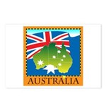 Australia Map with Waving Fla Postcards (Package o