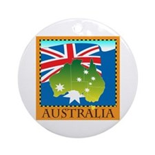 Australia Map with Waving Fla Ornament (Round)