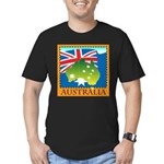 Australia Map with Waving Fla Men's Fitted T-Shirt