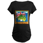 Australia Map with Waving Fla Maternity Dark T-Shi