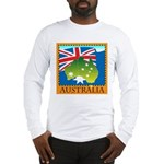 Australia Map with Waving Fla Long Sleeve T-Shirt