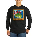 Australia Map with Waving Fla Long Sleeve Dark T-S