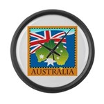 Australia Map with Waving Fla Large Wall Clock