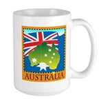 Australia Map with Waving Fla Large Mug