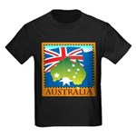 Australia Map with Waving Fla Kids Dark T-Shirt