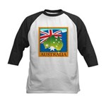 Australia Map with Waving Fla Kids Baseball Jersey