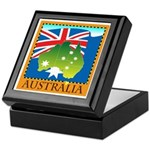Australia Map with Waving Fla Keepsake Box