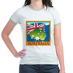Australia Map with Waving Fla Jr. Ringer T-Shirt