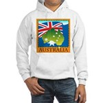 Australia Map with Waving Fla Hooded Sweatshirt