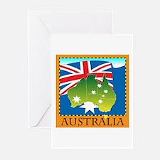 Australia Map with Waving Fla Greeting Cards (Pk o