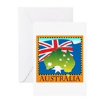 Australia Map with Waving Fla Greeting Cards (Pk o