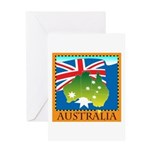 Australia Map with Waving Fla Greeting Card